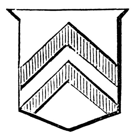 Shield Showing Chevronels have three couple-closes interlaced in base, vintage line drawing or engraving illustration.