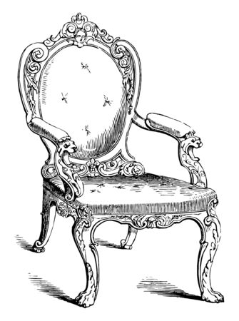 Chair with oval padded backrest, curved legs human face on top of padded backrest, vintage line drawing or engraving illustration Stock Illustratie