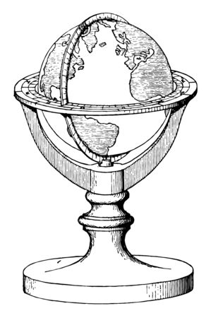 Terrestrial Globe an  artificial sphere,  surface representation of the earth,  social studies, vintage line drawing or engraving illustration.
