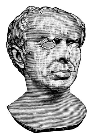 Bust of Marius, was a Roman general, politician elected consul, authorizing recruitment of landless citizens, vintage line drawing or engraving illustration.