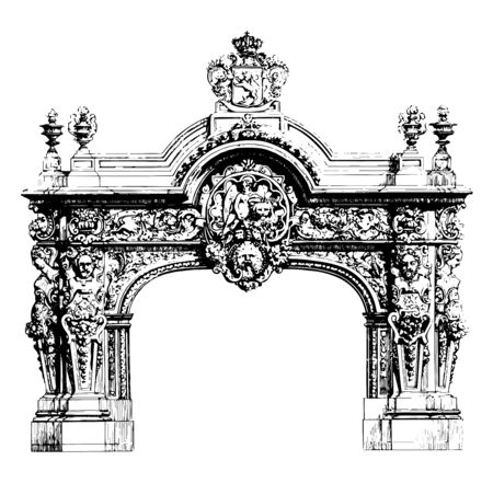 Fireplace is made out of marble, it is used for decorative purposes, vintage line drawing or engraving illustration.