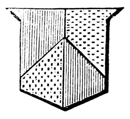 Parted Per Pale and Per Chevron has applies to the several parts of an escutcheon parted by a line, vintage line drawing or engraving illustration.