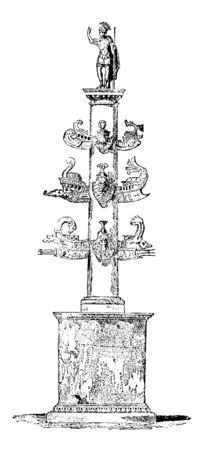 Säule des Duilius, die aus dem antiken Griechenland in Rom stammt und zum Gedenken an einen militärischen Marinesieg, eine Vintage-Linienzeichnung oder eine Gravurillustration errichtet wurde. Vektorgrafik