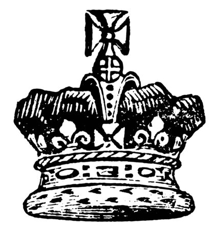 Crown of the Prince of Wales, vintage line drawing or engraving illustration. 일러스트