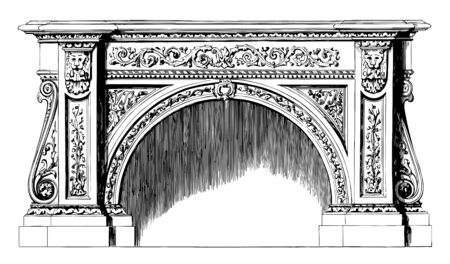 Fireplace used for heating a dwelling, cooking, heating water for laundry, vintage line drawing or engraving illustration.