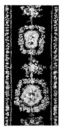 Rug is done in a floral design, It is used as a floor covering and for decorative purposes, vintage line drawing or engraving illustration.