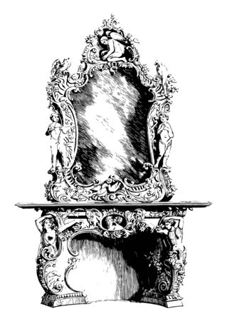 Fireplace with Mirror is richly decorated with figures and scrolls, largest collection of interior, design, vintage line drawing or engraving illustration. Illustration