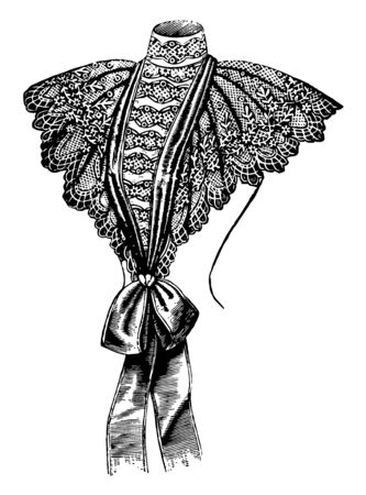 Plastron, Fancy is a plastron is worn over a dress for decorative purposes, vintage line drawing or engraving illustration.
