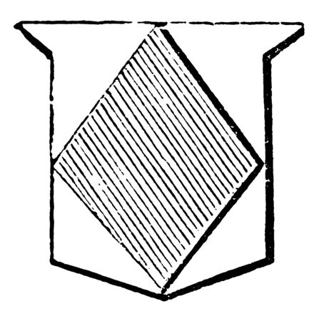 Lozenge Ordinary is formed by four equal and parallel lines but not rectangular, vintage line drawing or engraving illustration. Illusztráció
