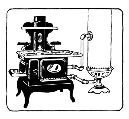 Coal Fuelled water heater and Stove uses coal as heating source to cook food and heat water through an outlet tube, vintage line drawing or engraving illustration.
