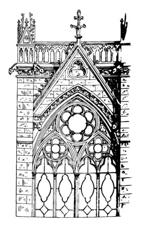 Tracery Foliations is windows of La Sainte-Chapelle, in Paris, France, two orders of mouldings, larger or enclosing circle, vintage line drawing or engraving illustration.