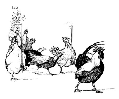 Group of hens walking on road and holding fire sticks, vintage line drawing or engraving illustration