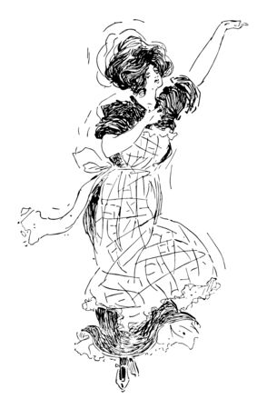Woman Dancing is complicated to be captivating and sweet lady getting down to Bruno probably shot at night, vintage line drawing or engraving illustration.