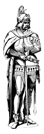 Armor Figure is displayed at the foundry of the Prince of Salms in Vienna, vintage line drawing or engraving illustration. Ilustração