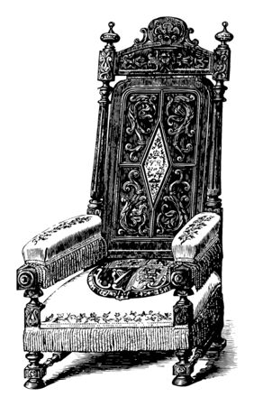 Chair is gift to queen of England with low lying cushioned seat and beautiful carving on long backrest, vintage line drawing or engraving illustration Illustration
