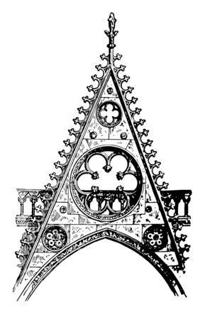 Gable at Notre Dame de Paris, the South Transept Door,  Gable, Gothic architecture, vintage line drawing or engraving illustration.