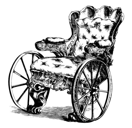 Wheelchair designed for mobility of sick people had 2 large wheels at front and one small wheel at back, vintage line drawing or engraving illustration