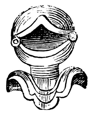 Open Helmet Direct are front view of the grated helmet, vintage line drawing or engraving illustration. 矢量图像