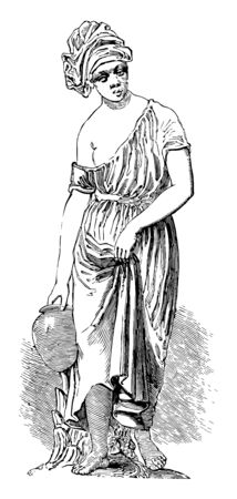 Statuette was depicts a water-bearer, vintage line drawing or engraving illustration.