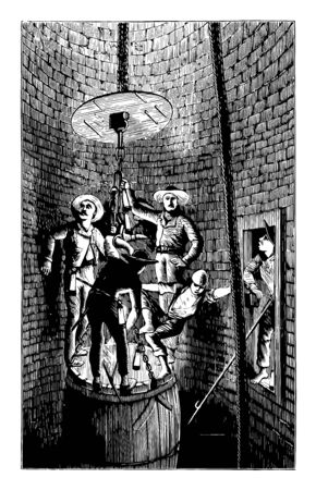 Miners Descending a Shaft is engraving by Bonhomme shows the method of descent, vintage line drawing or engraving illustration.