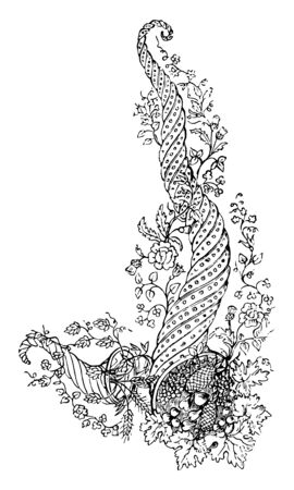 Embroidery Design  is intended to decorate the front of a waist coat, it is a design of a cornucopia with flowers that are wrapped around, vintage line drawing or engraving illustration.