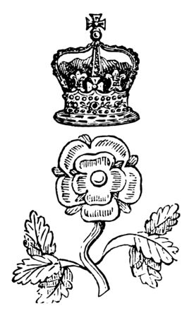 Rose and Crown Badge is a distinctive mark worn by servants, vintage line drawing or engraving illustration.