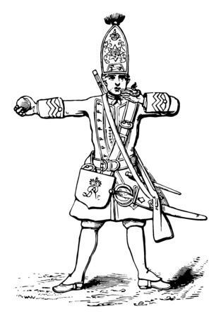 British Grenadier was blowing his fuse to light a grenade, vintage line drawing or engraving illustration.
