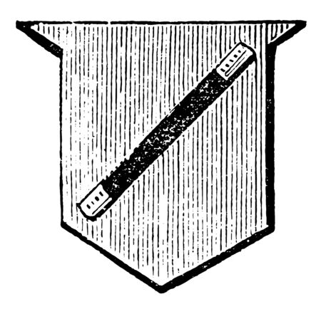 Shield Showing Baton is formed by two horizontal lines drawn above, vintage line drawing or engraving illustration. 向量圖像