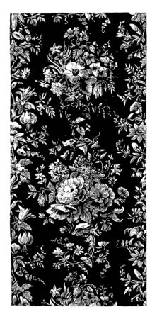 Rug is done in a floral design, it is a textile floor covering typically consisting of an upper layer of pile attached to a backing, vintage line drawing or engraving illustration. Illustration