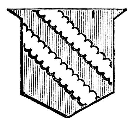 Shield Showing Bendlets is the same breadth as the bend dexter, vintage line drawing or engraving illustration. Ilustração
