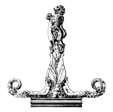 Sculpture have a small figure in the center and a lion holding a shield on the very top, vintage line drawing or engraving illustration.