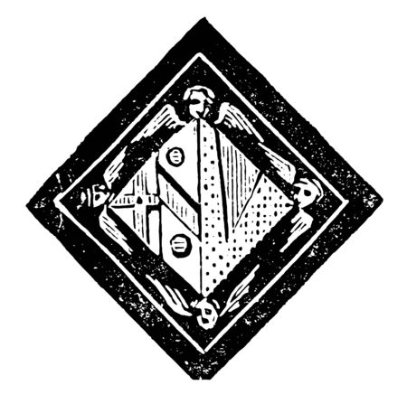 Funeral Achievement have image shows the hatchment of the widow of a bishop, vintage line drawing or engraving illustration.