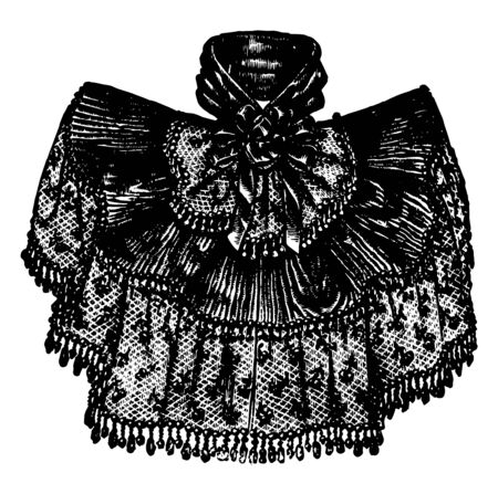 Neck Decoration is a decorative fabric that is worn around the neck, vintage line drawing or engraving illustration. Çizim