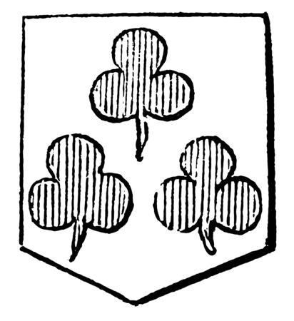 Trefoils have Argent three trefoils and gules, vintage line drawing or engraving illustration.