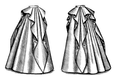 Long Rippled Skirt has a ruffle like material, vintage line drawing or engraving illustration.