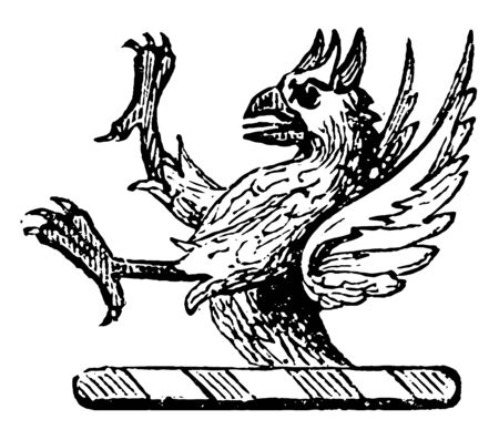 Demi-Griffin Crest is used to express the horns, vintage line drawing or engraving illustration.