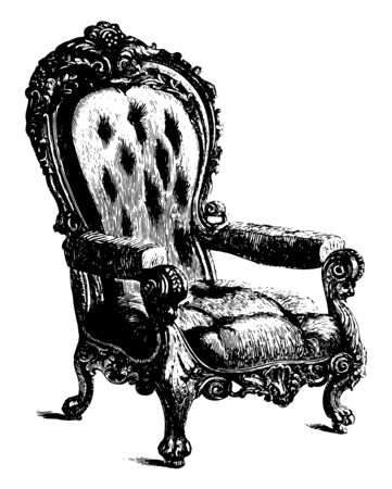 Chair made from locust wood has cushioned and upholstered backrest, armrest and center seat, vintage line drawing or engraving illustration
