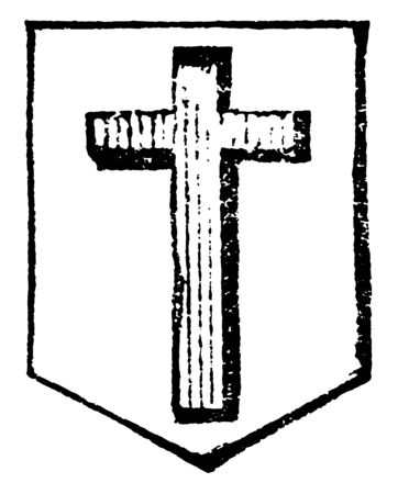 Cross of Calvary is an honorable ordinary, vintage line drawing or engraving illustration.