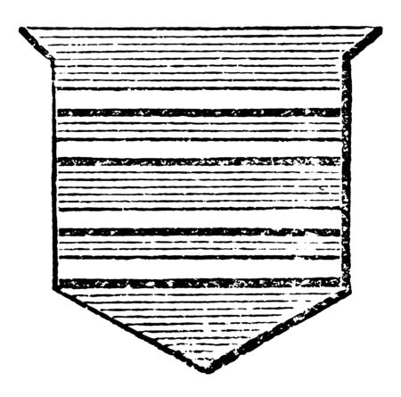 Shield Showing Gemels is called barry of so many pieces, vintage line drawing or engraving illustration. Ilustração