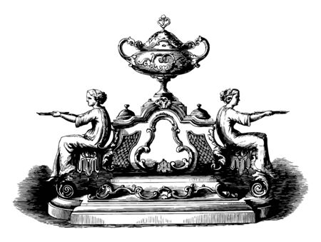 Inkstand is designed in a Louis Quatorze style,17th century, 18th century, covered vase, louis 14th, seated figures, tray, vintage line drawing or engraving illustration.