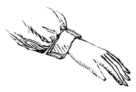 This picture represents Hand with Palm Facing Down, vintage line drawing or engraving illustration. Иллюстрация