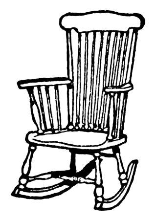 Chaise à bascule avec des bandes de bois incurvées de chaque côté reliant les jambes, dessin au trait vintage ou illustration de gravure