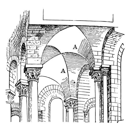 Groin Vault, early 12th century vaulting, In architecture, the curved intersection, arris of simple vaults crossing, vintage line drawing or engraving illustration.