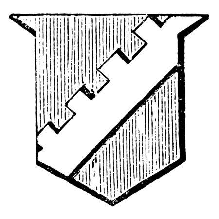 Bend Sinister Embattled is said to be embattled or crenelle, vintage line drawing or engraving illustration. Ilustração
