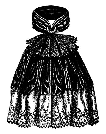 Neck Decoration is worn over the neck and covers the chest area, vintage line drawing or engraving illustration.