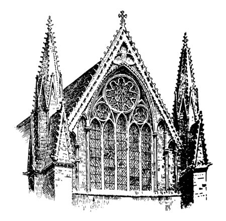 Lincoln Cathedral, of the Blessed Virgin Mary of Lincoln,  geometric style Gothic cathedral, Canterbury, England, vintage line drawing or engraving illustration.