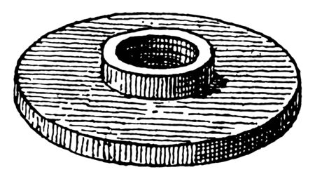 This illustration represents Flange which is a method of connecting pipes, vintage line drawing or engraving illustration.