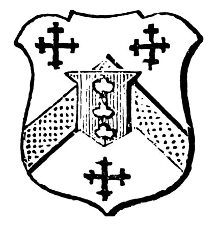 Escutcheon of Pretence are between three crosslets sable, vintage line drawing or engraving illustration.