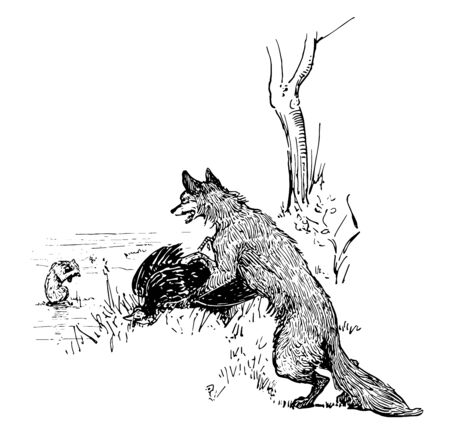 An animal sitting on rock in the water, the fox standing near tree and holding bird and showing to him, vintage line drawing or engraving illustration Illustration