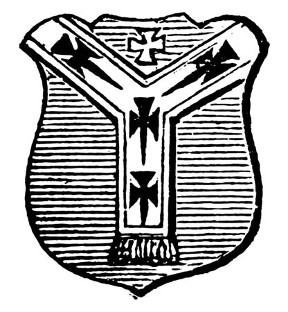 Pall is introduced as the principal bearing of the archbishops of Canterbury, vintage line drawing or engraving illustration.